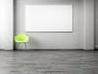 Leere Leinwand stuhl gestrichene Ziegelwand 3D