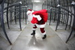 Santa Claus with red sack in empty storehouse