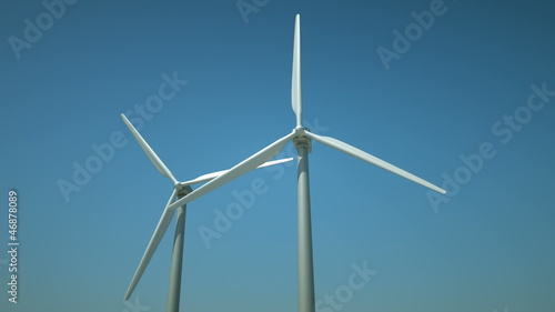 Turbines in a windfarm generating alternative energy.
