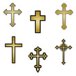 set of religious crosses. vector illustration