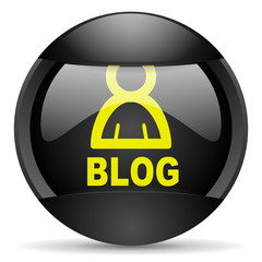 blog round black web icon on white background