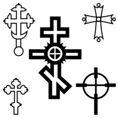 set of crosses in different styles
