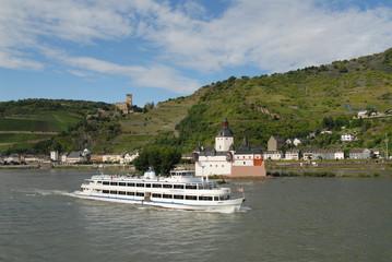 Kaub, Burg Pfalzgrafenstein, Rhein, Weinberge, Mittelrheintal