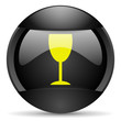 glass round black web icon on white background