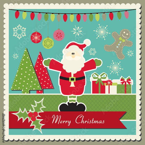 Scrapbook inspired Vector Christmas card with Santa Claus