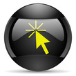click here round black web icon on white background