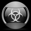 virus round gray web icon on black background