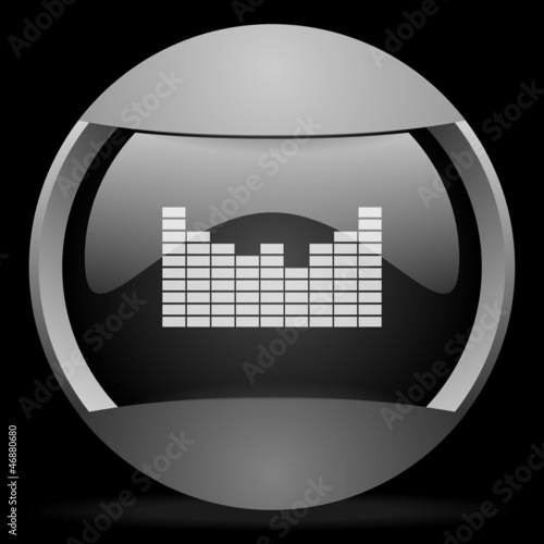 sound round gray web icon on black background