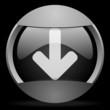 arrow down round gray web icon on black background