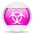 virus round violet web icon on white background