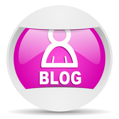 blog round violet web icon on white background