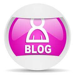 blog round violet web icon on white background