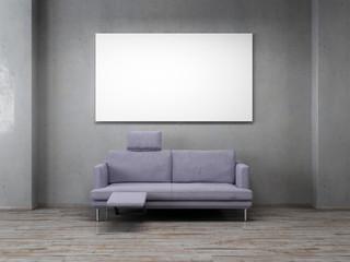 Leinwadn 16:9 mit zweisitzer vor Sichtbeton Wand 3D