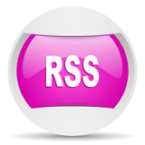 rss round violet web icon on white background