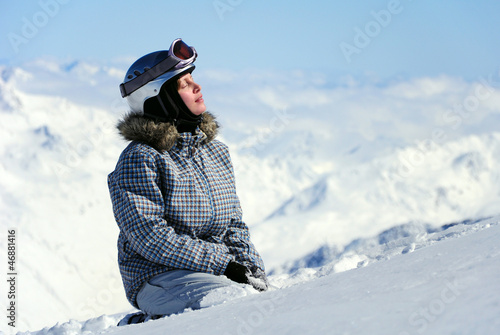 female skier enjoying sun