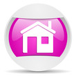 home round violet web icon on white background