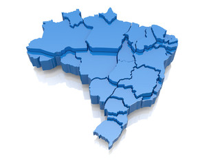 Three-dimensional map of Brazil