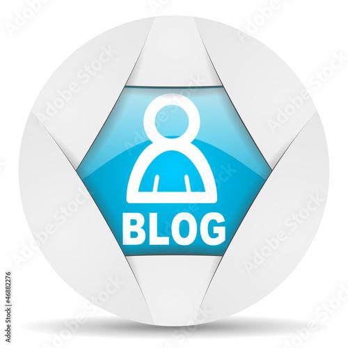 blog round blue web icon on white background