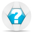question mark round blue web icon on white background
