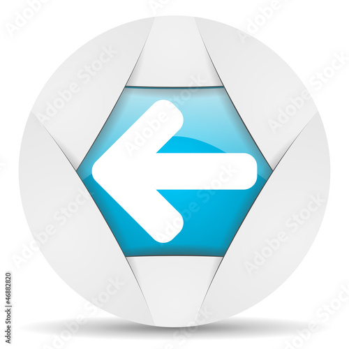 arrow left round blue web icon on white background