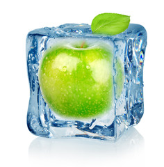 Ice cube and apple