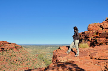 Hiker at Kings Canyon Looking at the Beautiful Landscape