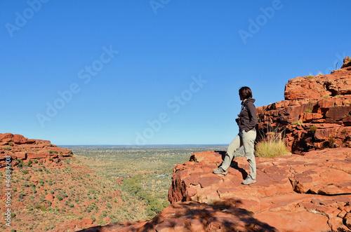 Hiker at Kings Canyon Looking at the Beautiful Landscape