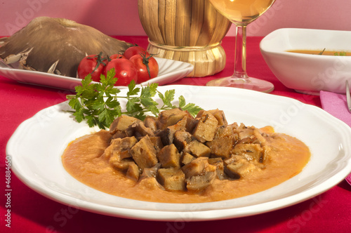 Zone Diet-seitan with oyster mushrooms and chickpeas mus