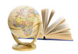 globe and book on white background