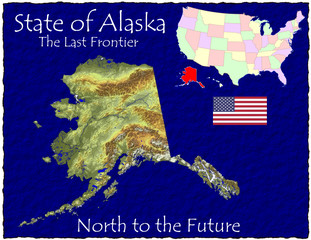 Alaska USA State map location nickname motto