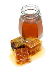 honey combs and jar