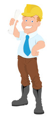 Architect - Cartoon Character - Vector Illustration