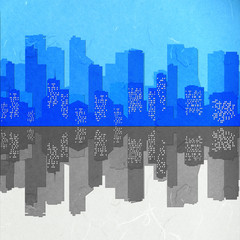 Rice paper cut  cityscape mirror