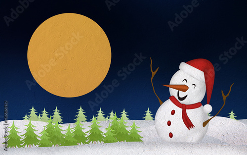 Christmas Snowman Mulberry Paper Cutting and the moon.