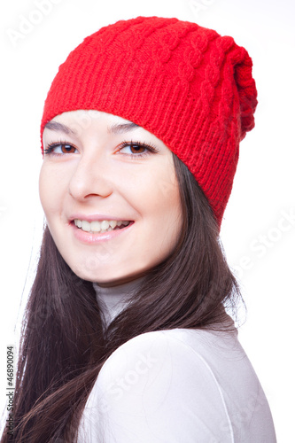 face of  beautiful girl in red cap