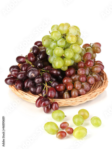 Delicious ripe pink and green grapes