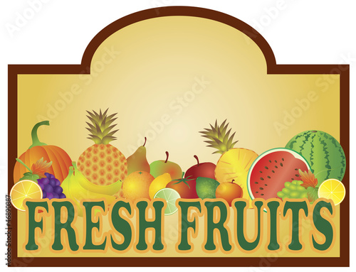 Fresh Fruits Stand Signage Illustration