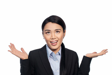 Asian businesswoman shrugging her shoulders