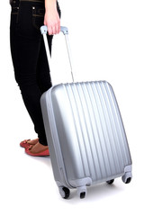Traveller with silver suitcase isolated on white