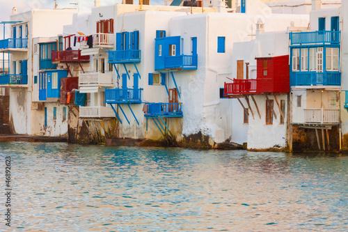 Staande foto Athene Little Venice closeup in Mykonos Island cyclades Greece