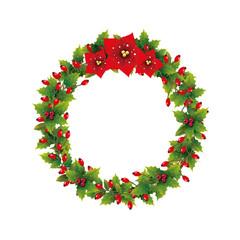 Hagebuttenkranz mit Weihnachtssterne zum Dekorieren