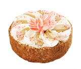 Cake with decorative Lotus flower isolated over white