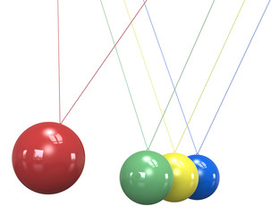 Teamwork. Newtons Cradle in 4 colors. Isolated.