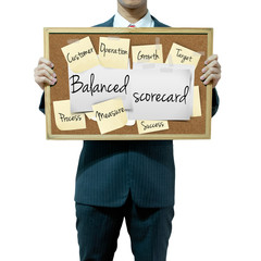 Business man holding board on the background, Balanced Scorecard
