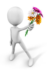 3d-man offering a bunch of flowers