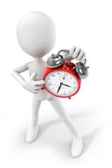 3d-man showing an alarm clock