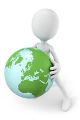 3d-man holding the earth globe