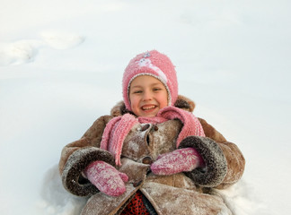 girl in warm clothes outdoors