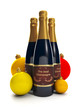 3d Illustration: A group of three bottles of champagne.
