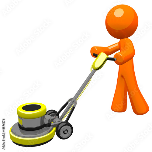 3d Orange man with floor scrubber